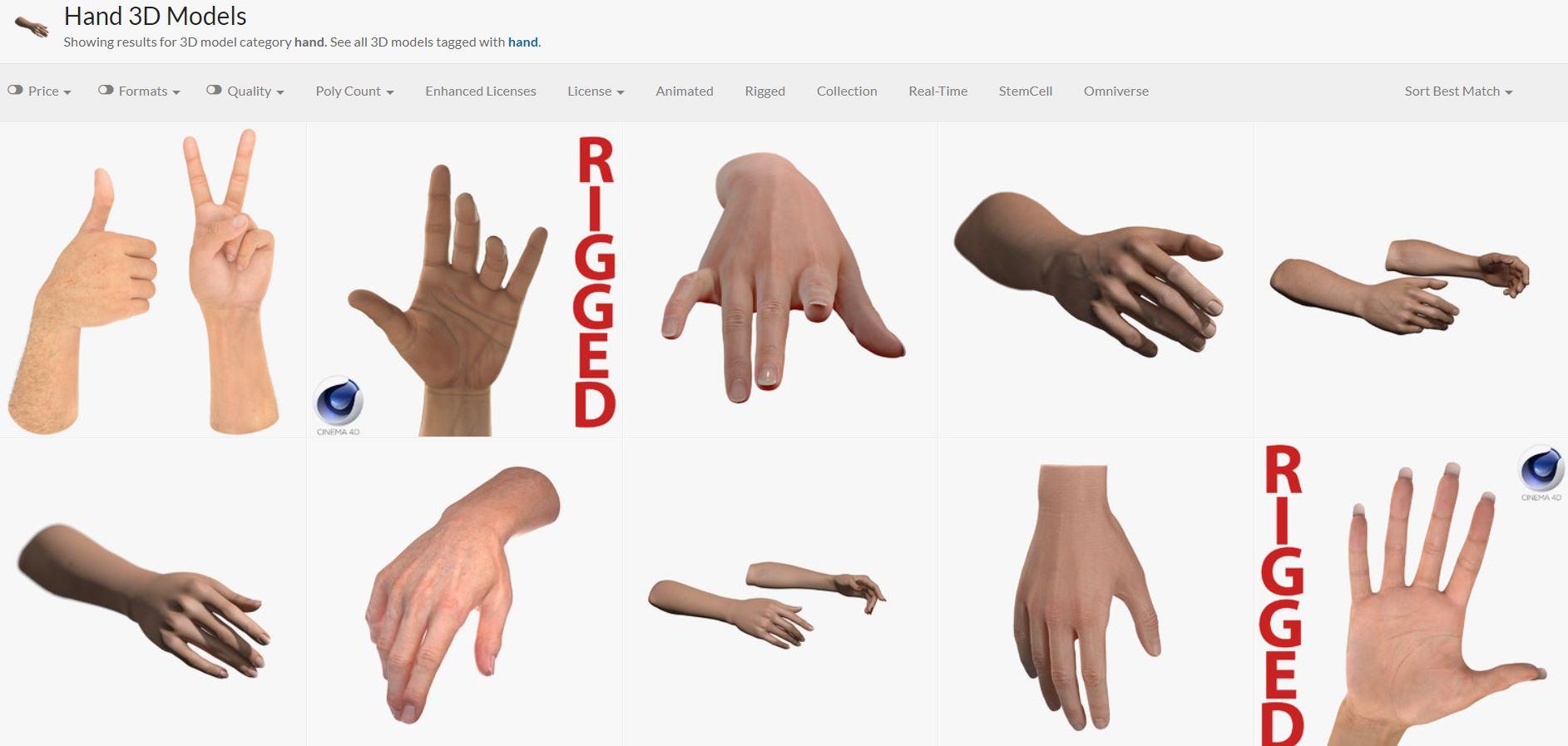 A screenshot of different 3D hand models.