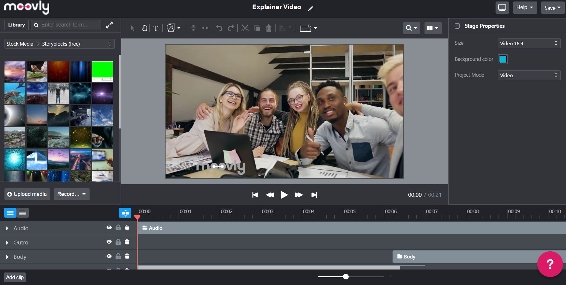 A screenshot of Moovly's video editor.